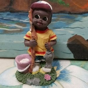 Vintage Ceramic fishing boy figure